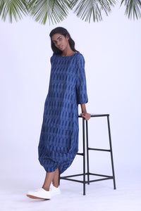 Blue handwoven ikat cowl dress