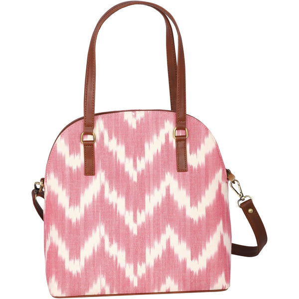 Handwoven ikat vegan leather handbag/crossbody bag