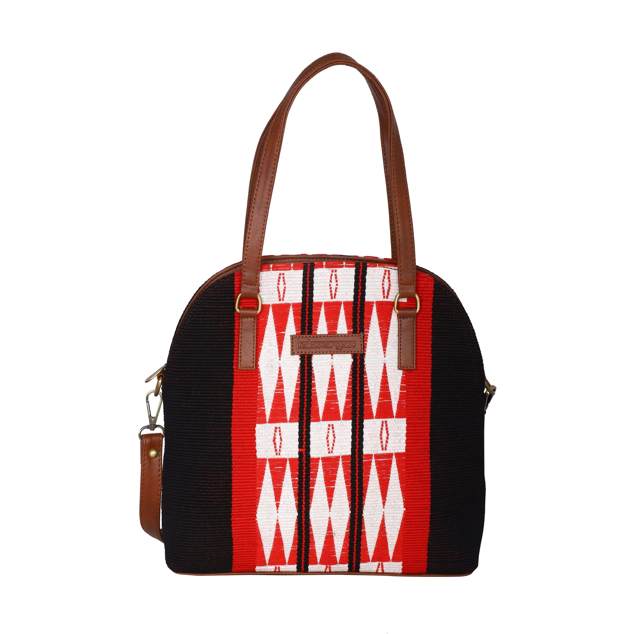 Womens handbag crafted from hill tribe naga textile, Crossbody bag, Vegan leather bag