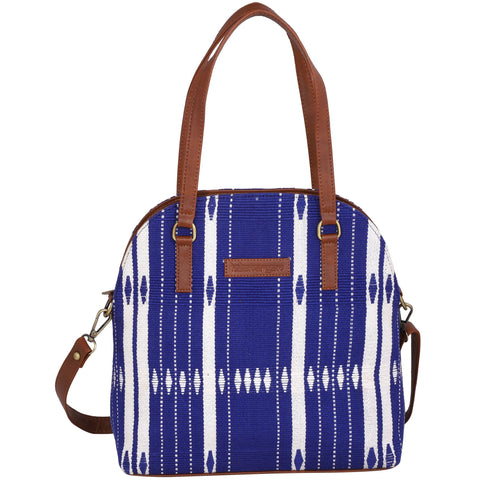 Womens handbag crafted from hill tribe textile, Crossbody bag, Vegan leather bag