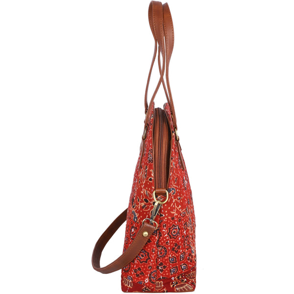 Block printed shoulder bag, Crossbody bag, Vegan leather bag