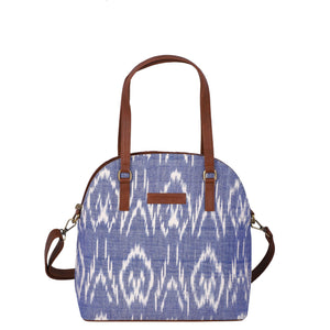 Handwoven ikat vegan leather handbag