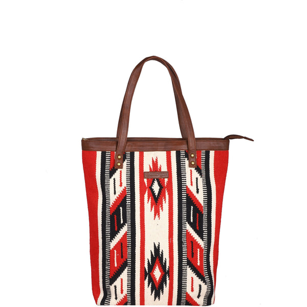 Handwoven kilim and vegan leather tote bag