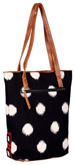 Vegan leather bohemian tote bag in handwoven ikat fabric with exquisite mirror work