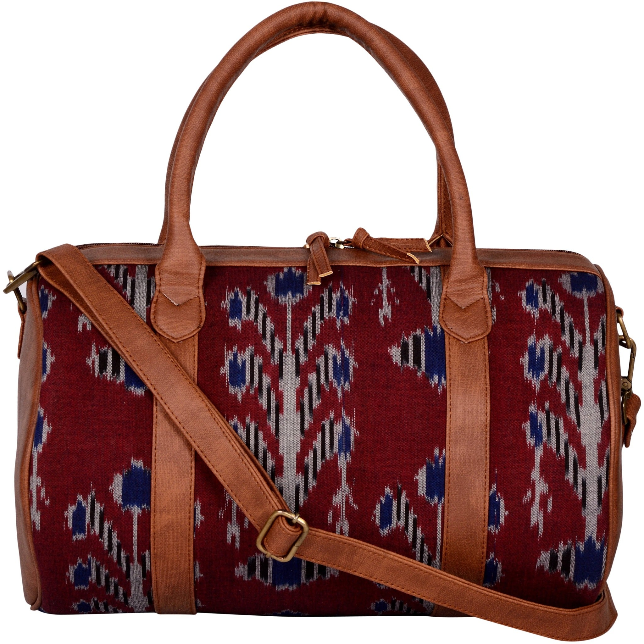 Handwoven Ikat & Vegan Leather Travel Duffle Bag