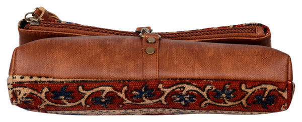 Kalamkari Kilim and Vegan Leather Foldover Clutch cum Sling Bag