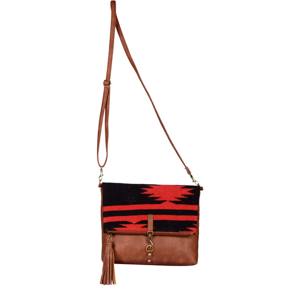 Warangal Kilim and Vegan Leather Foldover Clutch cum Sling Bag