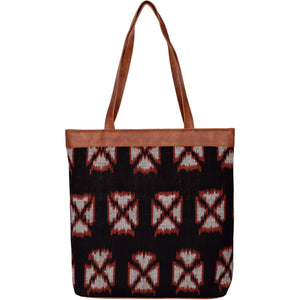 Handwoven Ikat and Vegan Leather Tote Bag