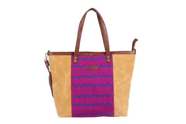 Vegan leather bag, custom handwoven fabric tote bag, waxed canvas tote bag