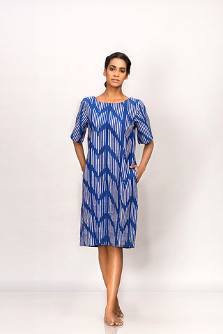 Blue handwoven ikat shift dress