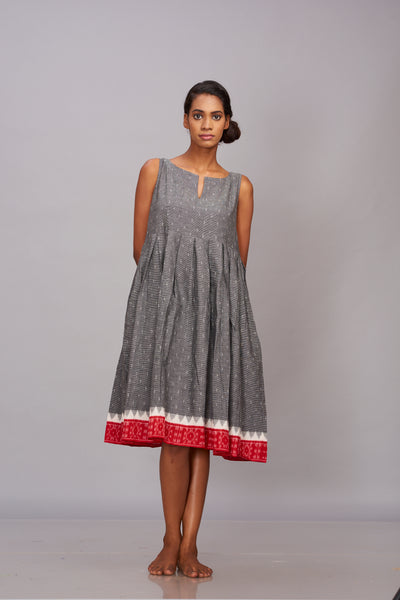 Grey handwoven ikat pleated dress