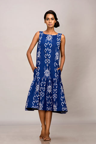 Blue handwoven ikat tier dress