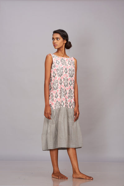 Handwoven ikat and khadi tier dress