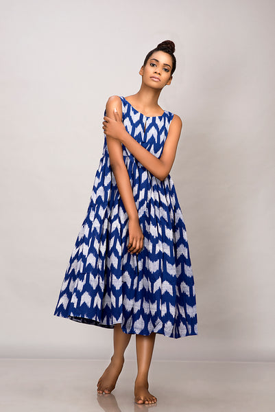 Blue handwoven ikat pleated dress