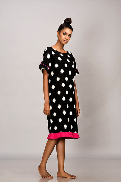 Polka dot handwoven ikat shift dress
