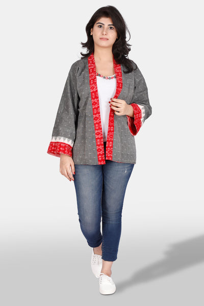 Reversible handwoven ikat cotton jacket