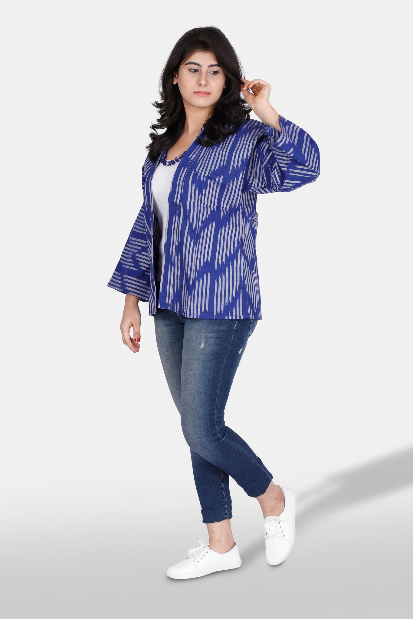 Handwoven ikat cotton jacket