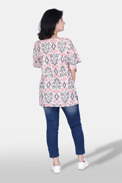 Handwoven ikat tunic top