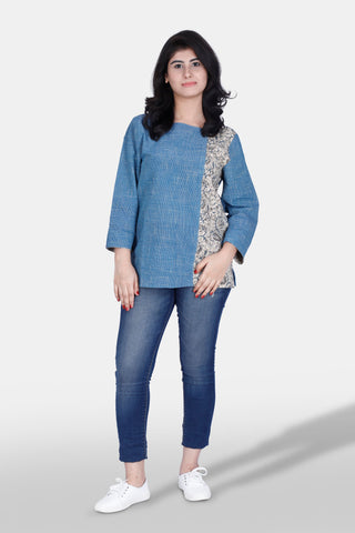 Handloom cotton tunic top in organic dyes