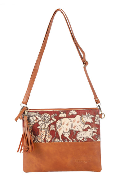 Handpainted Kalamkari Crossbody/Clutch