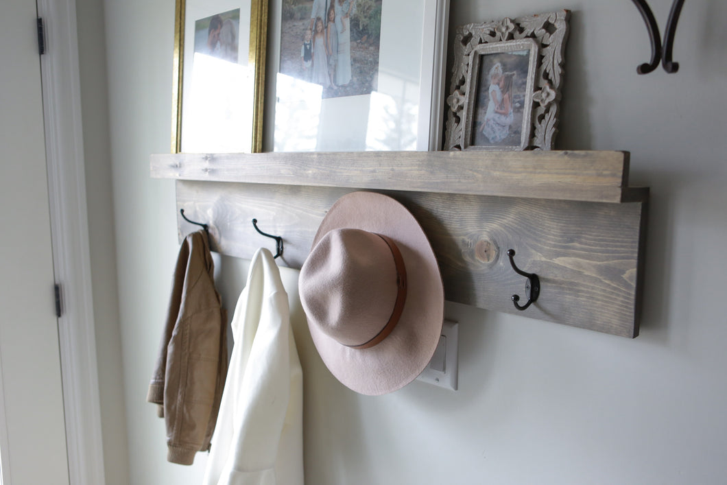 Photo ledge & coat hooks
