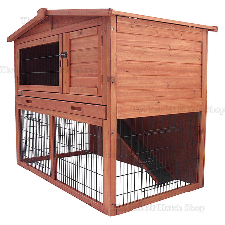 Natura Large Rabbit Hutch And Run With Slide Out Tray Rabbit