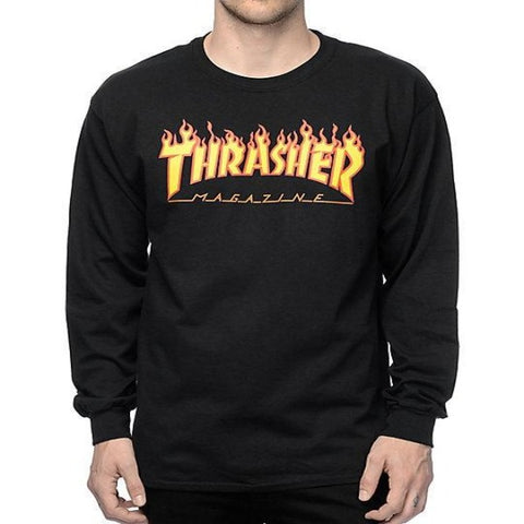 Thrasher Flame LS Tee - Black