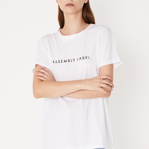 Assembly Label White Logo Tee with round neckline, straight hemline, and our signature Assembly Label logo.