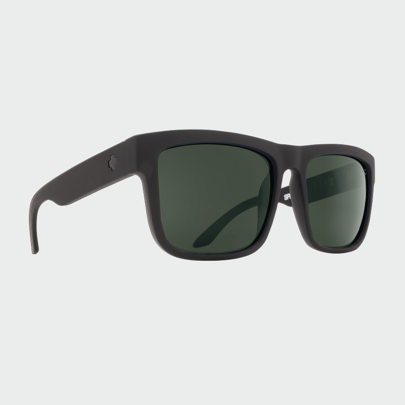 Spy Sunglasses Discord - Soft Matte Black Happy Grey Green Polarized