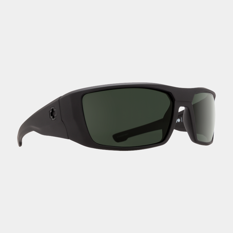 Spy Sunglasses Dirk- Soft Matte Black Happy Grey Green Polarized