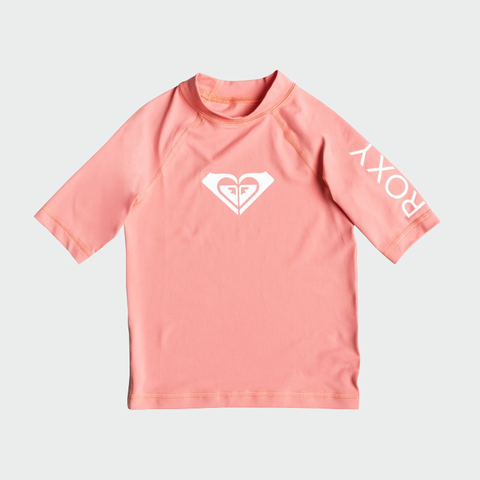 Roxy Whole Hearted SS Rash Top - Peach Pearl