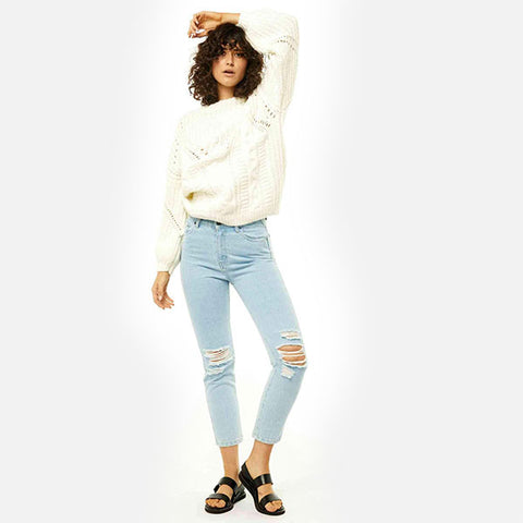 Rusty Folklore Chunky Crew Neck Knit -Whisper White