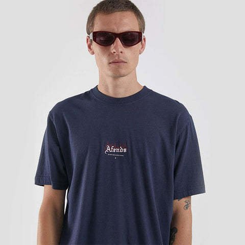 Afends Burning Retro Fit Tee - Deep Water