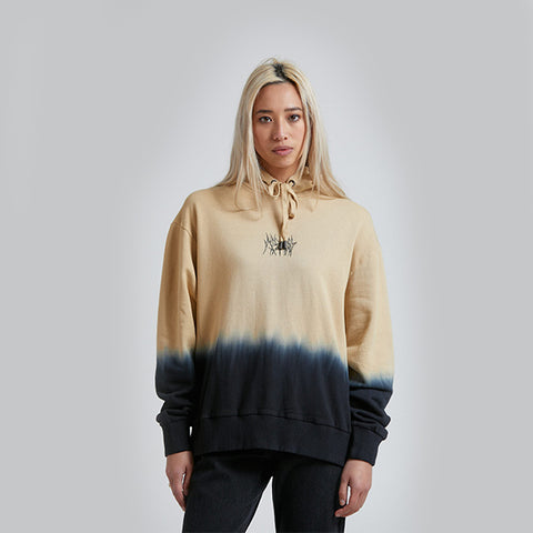 Afends Isiah Pull On Hood -Black Bleach Dip Dye