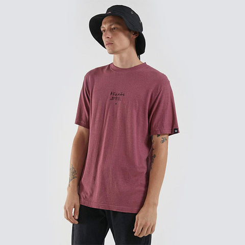 Afends Static To Violent Hemp Retro Fit Tee - Redwood