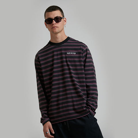 Afends Taj Stripe Long Sleeve Tee - Redwood
