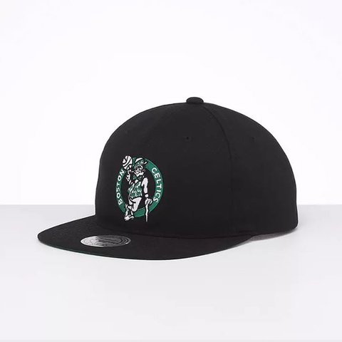 Black Boston Celtics throwback snapback cap with green embroidered logo on front