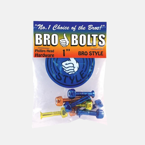 1 pack of blue, yellow and red phillips Bro Style bolts for skateboard decks.