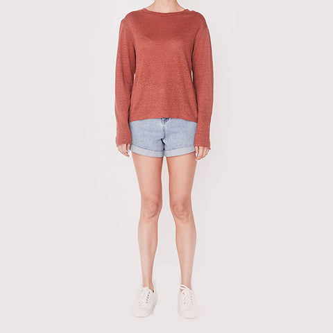 Assembly Label Mara Linen Long Sleeve Tee - Auburn