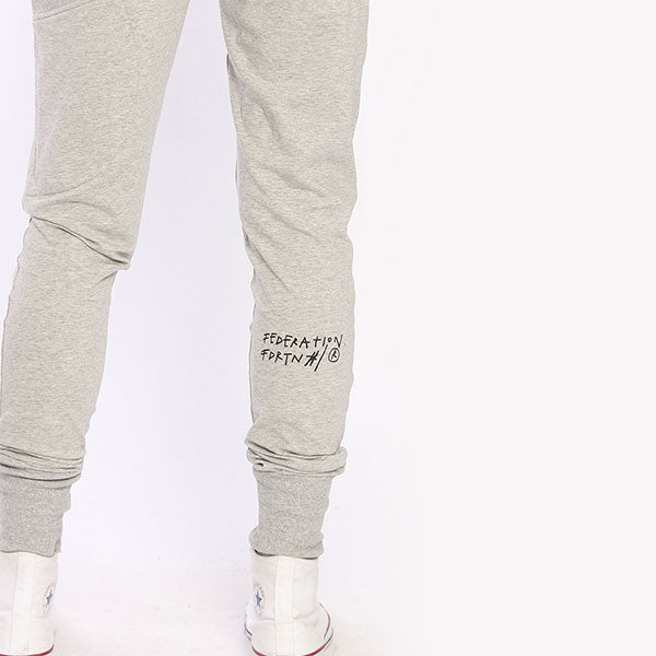 federation escape trackies black logo grey pants