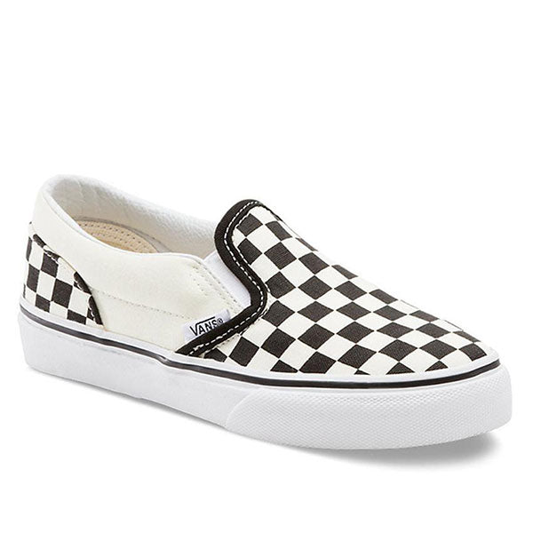 black and white checkered slip on shoes