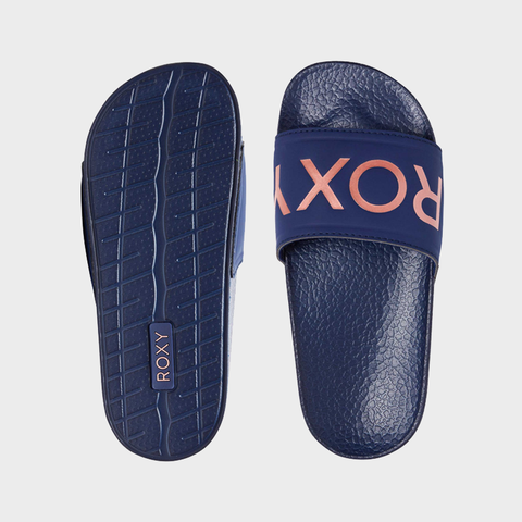 Roxy RG Slippy Jandals - Navy/Rose Gold