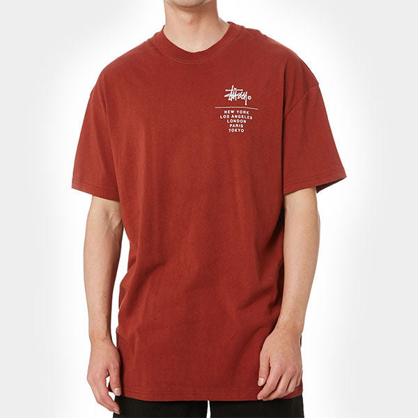 Stussy Left Chest City Stack SS Tee - Solid Brick
