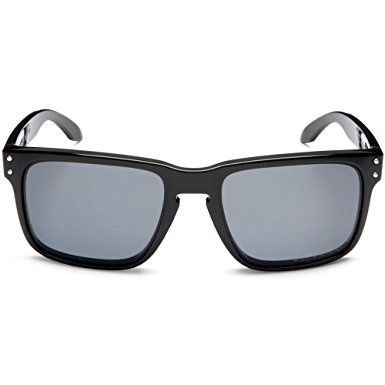 Oakley Men's Holbrook Polarized Rectangular Sunglasses,Polished Black Frame/Grey Lens,one size