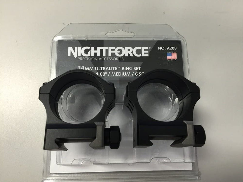 "Nightforce Optics 34mm 1"" Medium Ultralite Ring Set, 6 Screw"