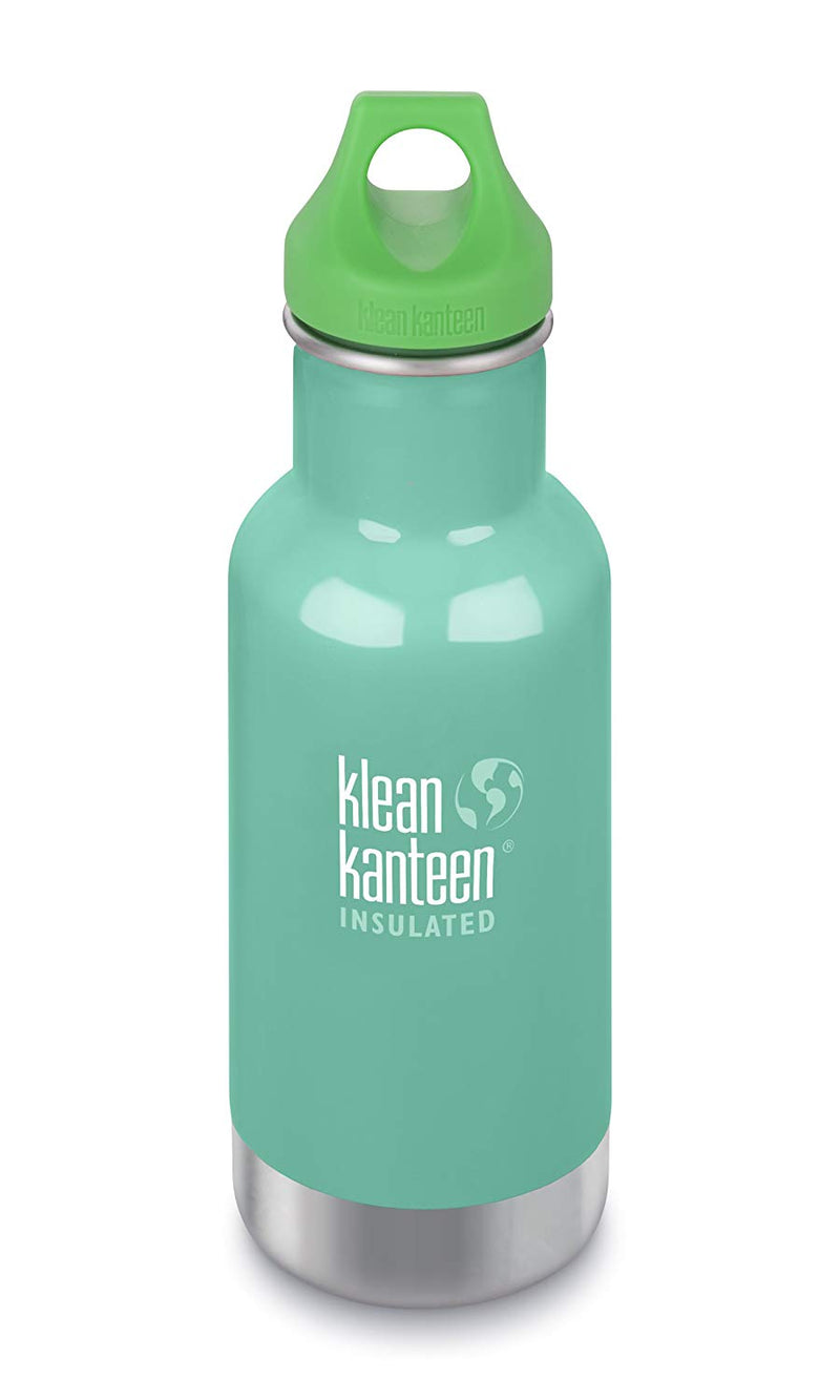 Klean Kanteen 12oz Kid Kanteen Classic Stainless Steel Water Bottle with Klean Coat, Double Wall Vacuum Insulated and Leak Proof Loop Cap