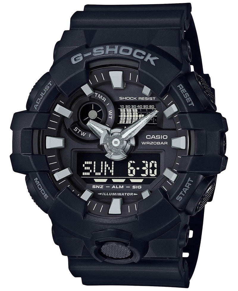 Casio Mens G-Shock GA700-1B Front Button Black Watch