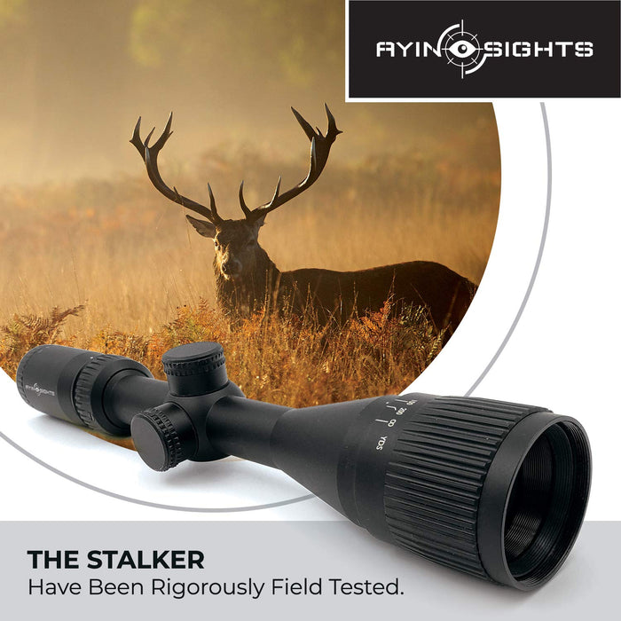AYIN Sights Stalker 3-9x40 Tactical/Hunting Scope with Capped Turrets, Parallax Adjustment & Scope Cover…