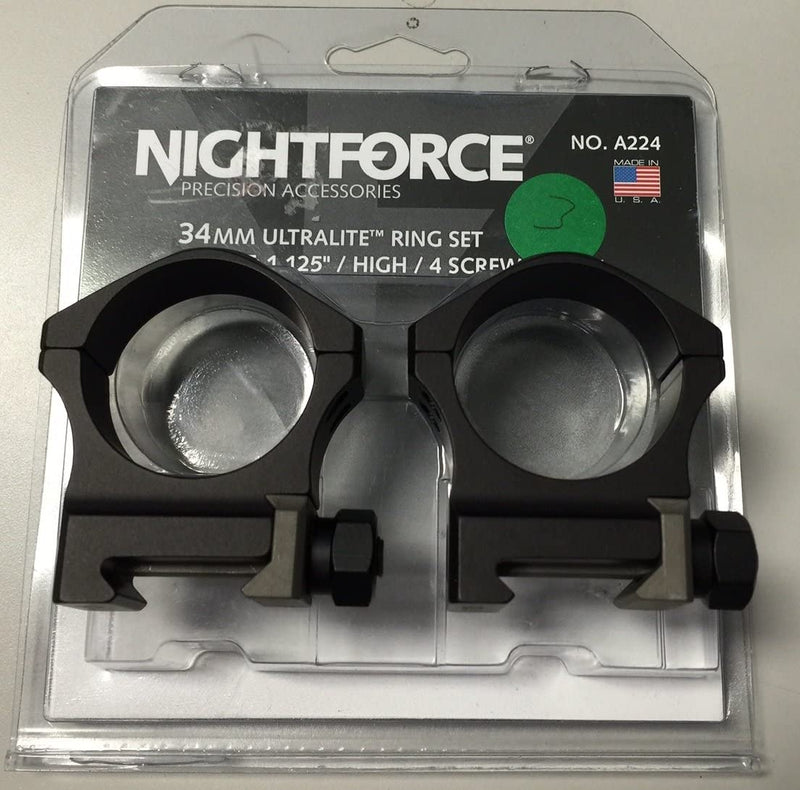 "Nightforce Optics 34mm 1.125"" High Ultralite Ring Set, 4 Screw"