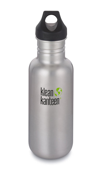 Klean Kanteen 27oz Classic Stainless Steel Water Bottle Loop Cap - Brushed Stainless (NEW 2018)